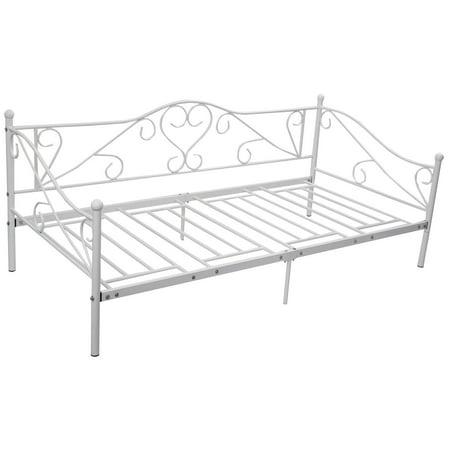 costway 77x36 daybed sofa bed frame solid steel slat support guest - Dorm Bed Frame