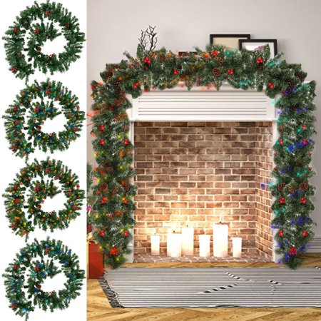 4 style 2.7M LED Christmas Festival Decoration Garland Home Decor Rattan Lights Wreath Decorated Mantel Fireplace Stairs Wall Door Pine Xmas Tree ()