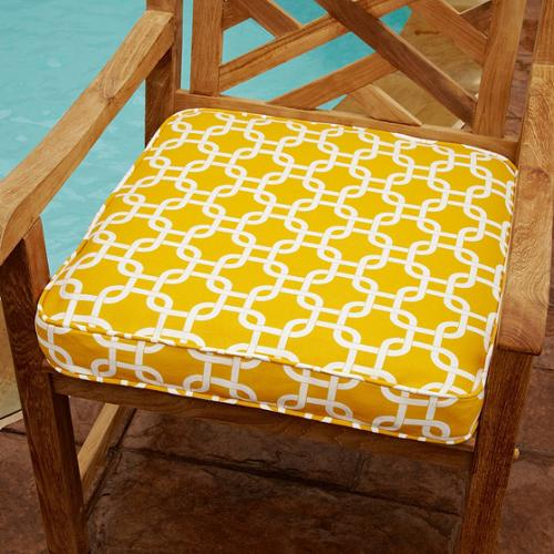 Mozaic Company Penelope Yellow 19-inch Square Outdoor Chair Cushion