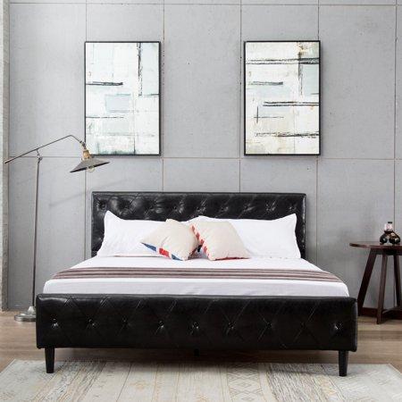 Bed Frame Metal Mecor Button Tufted Upholstered Platform Queen Size ...