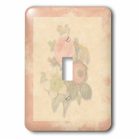 3dRose Soft Pink Victorian Roses, Antique look Background Pink Frame, Light pastel - Single Toggle Switch