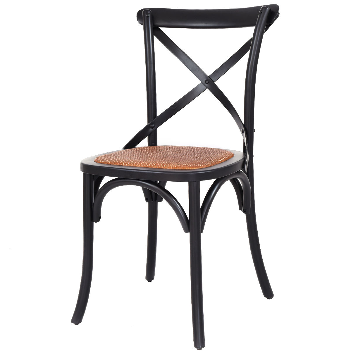 Costway Cross Back Dining Side Chair Rattan Seat Birch Frame Kitchen Furniture Black