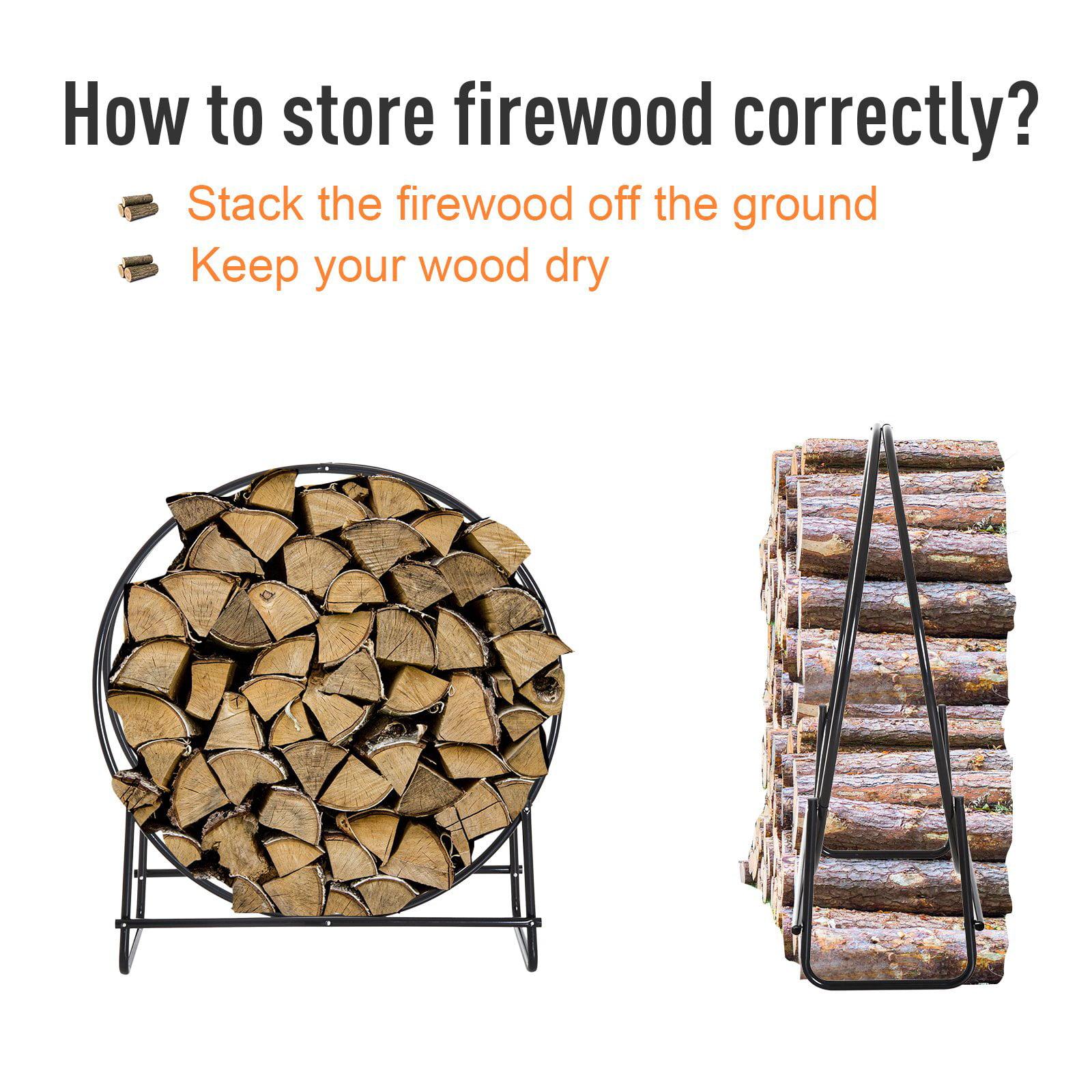 Heavy Duty Firewood Rack Indoor Outdoor Log Holder 264lbs Black