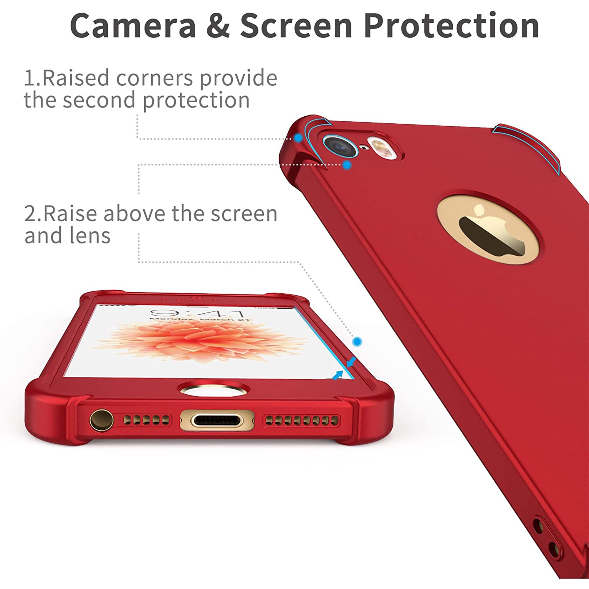 iPhone 5 / 5S / SE (2016) Case,with [2 x Tempered Glass Screen Protector] ORETech 360° Full Body Ultra-Thin Shockproof