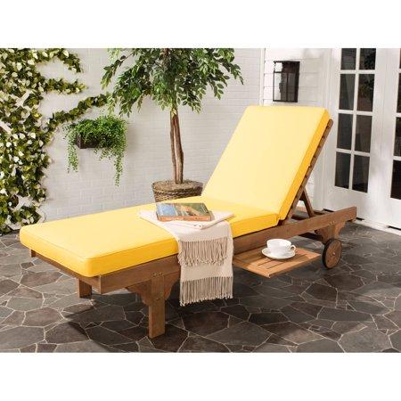 safavieh newport chaise outdoor lounge chair teak brown yellow