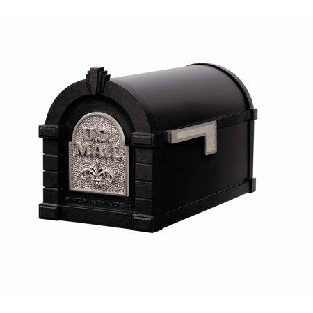 Keystone Mailbox BLK w/Satin Nickel Fleur De Lis Gaines Keystone Series Mailbox