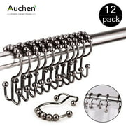 AUCHEN New Upgraded Set of 12 Shower Curtain Hooks,Stainless Steel Metal Double Curtain Rings for Shower Rods Curtains-Premium 18/8 Stainless Steel-Double Hooks with Easy Glide Rollers (Bronze)