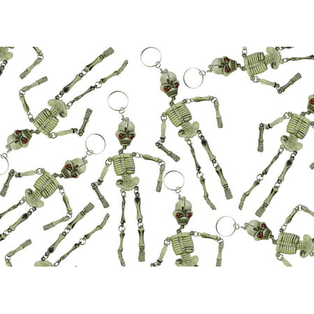 Bulk 12 Skeleton Keychains - Fidget Set for Doctors and Medical Professionals - Halloween Novelty Goodie Bag Filler Trick or Treat (1 DOZEN) - Kid Friendly Halloween Treat Ideas
