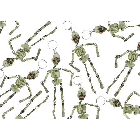 Bulk 12 Skeleton Keychains - Fidget Set for Doctors and Medical Professionals - Halloween Novelty Goodie Bag Filler Trick or Treat (1 DOZEN) - Cute Halloween Classroom Treats
