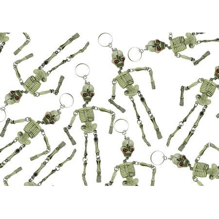 Bulk 12 Skeleton Keychains - Fidget Set for Doctors and Medical Professionals - Halloween Novelty Goodie Bag Filler Trick or Treat (1 DOZEN) - Halloween Party Music Ghost Doctors