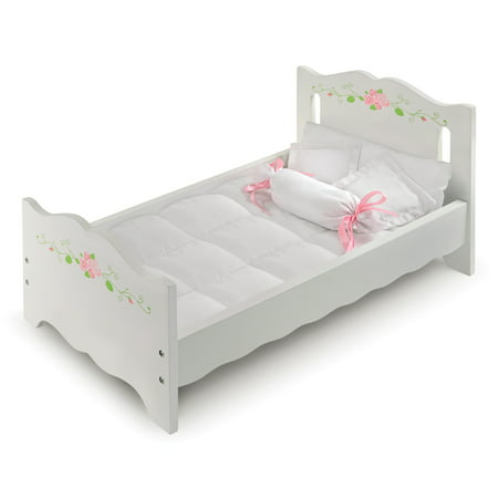 Badger Basket Doll Bed with Bedding and Free Personalization Kit - White Rose - Fits American Girl, My Life As & Most 18