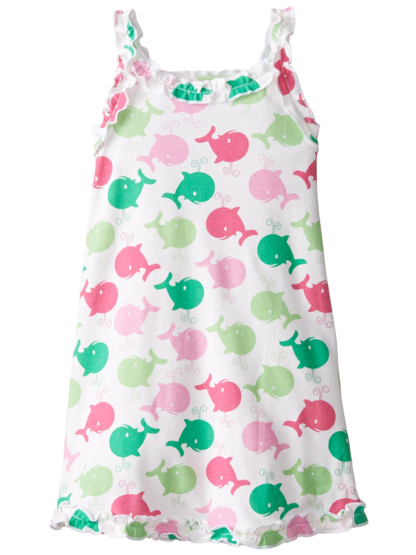 Sara's Prints Big Girls' Ruffle Tank Nightgown, Spouting Whales Pink, Size: 4