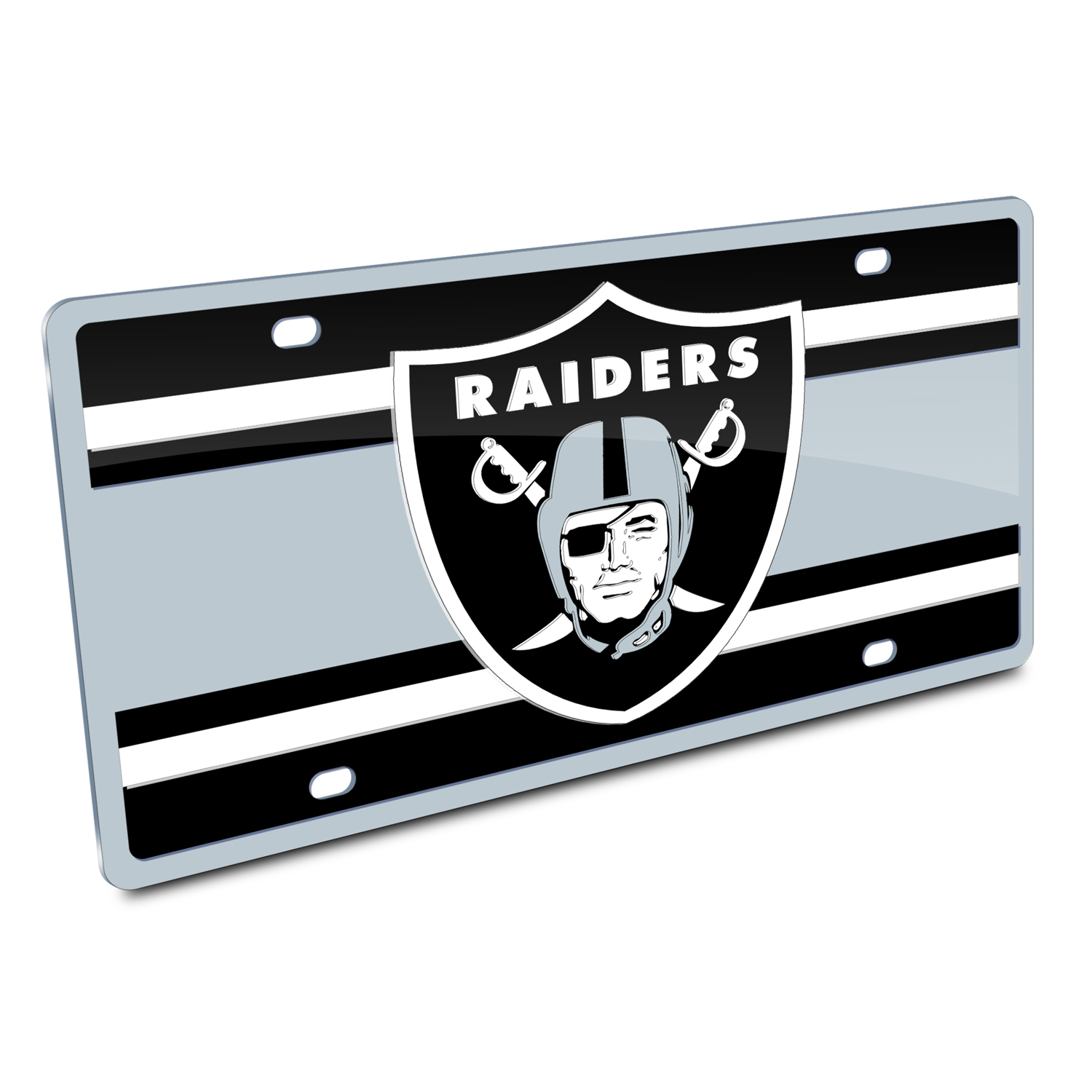 NFL Oakland Raiders Superstripe Style License Plate