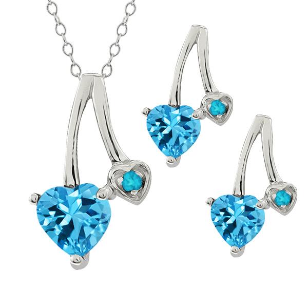 "2.14 Ct Heart Shape Swiss Blue Topaz 14k White Gold Pendant 18"" Earrings Set by"