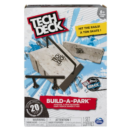 Tech Deck - Build-A-Park – Kicker Rail, Flatbar, and Barrier – Ramps for Tech Deck Board and