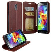 Pu Leather Wallet CaseSamsung Galaxy S5 Case, Slim Folio [Kickstand] with ID&Credit Card Slot Phone Case -Brown