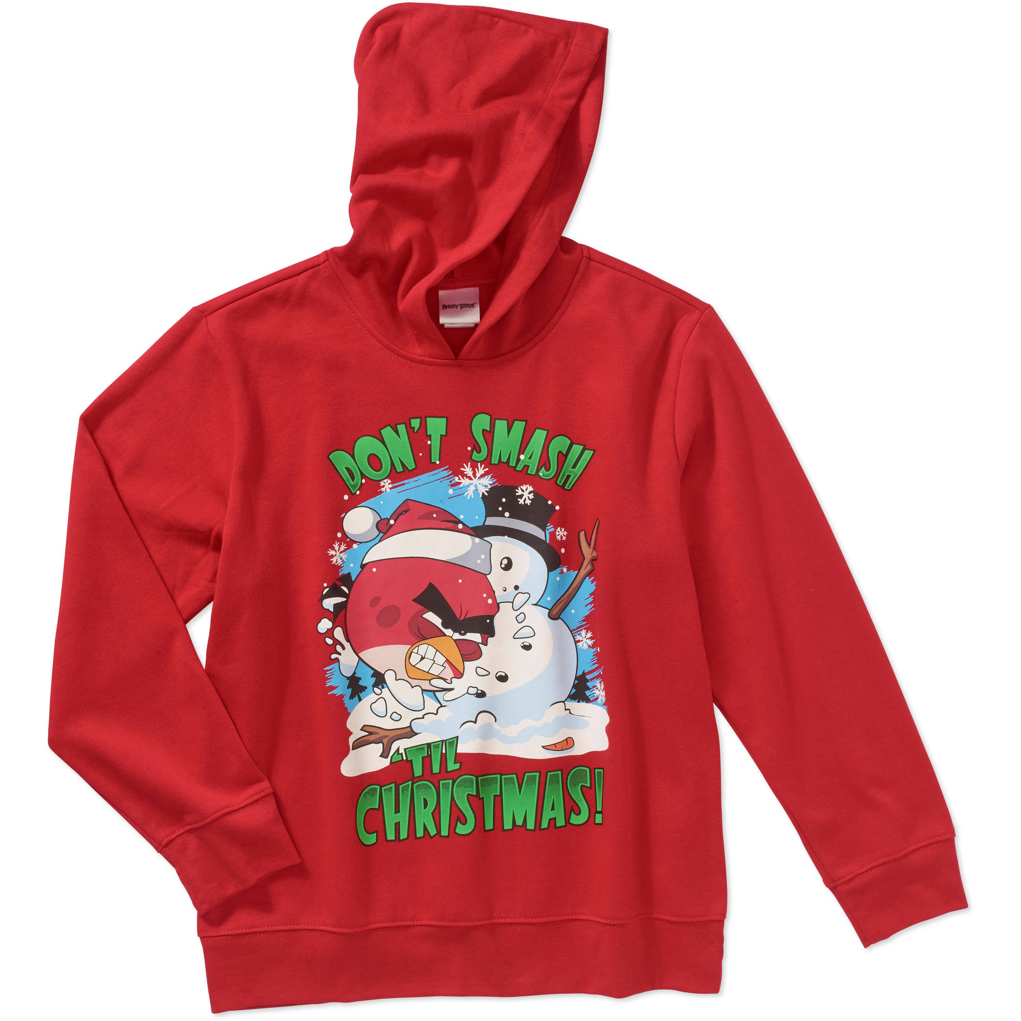 "Angry Birds ""Don't Smash 'Til Christmas"" Boys' Long Sleeve Pullover Graphic Hoodie"