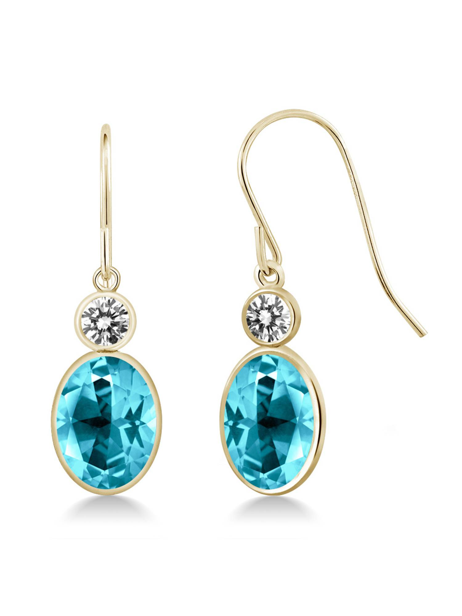 14K Yellow Gold Diamond Earrings Set with Oval Paraiba Topaz from Swarovski by