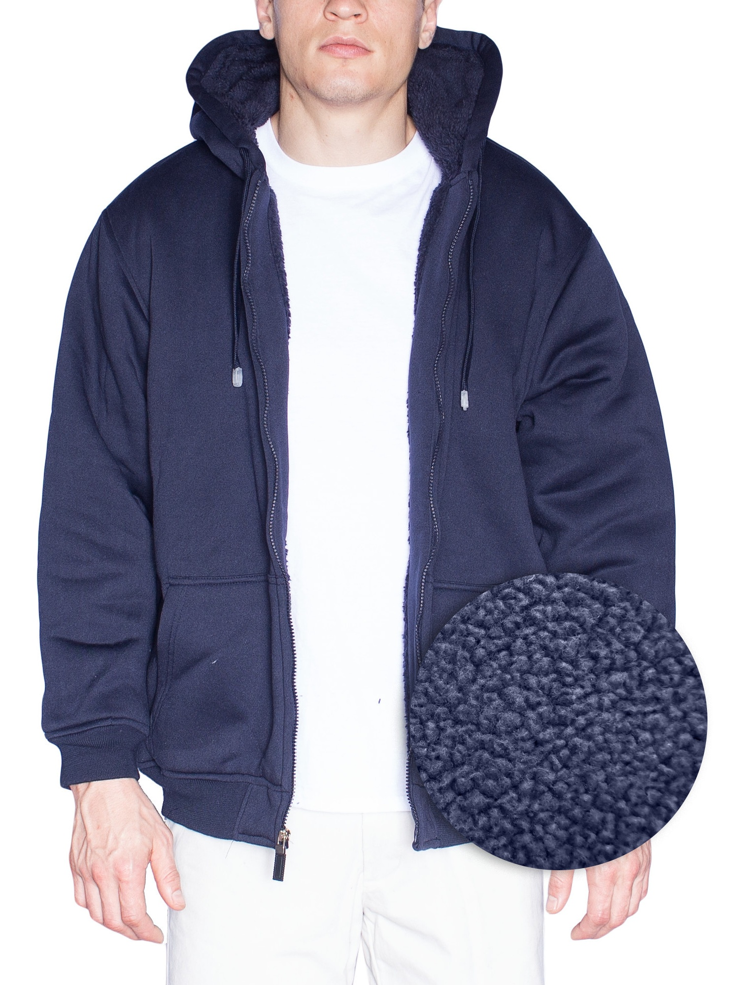 Mens Hoodie For Mens Fleece Jacket Big And Tall Zip Up With Hood (XXXXX-Large, Navy)