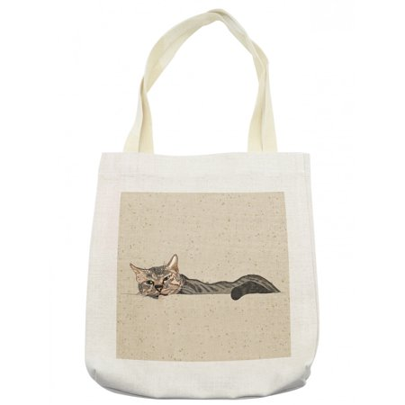 Cat Tote Bag, Lazy Sleepy Cat in Earth Tones Furry Mascot Indoor Pet Art Illustration, Cloth Linen Reusable Bag for Shopping Books Beach and More, 16.5