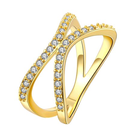 Gold Plated Open Ended Knot Ring Size (Gold Knot Accent)
