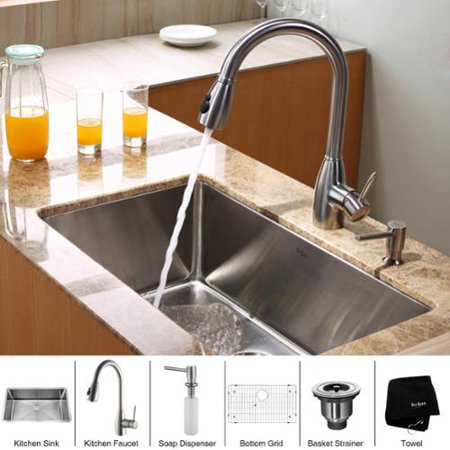 Kraus Kitchen Combo Set Stainless Steel 30 Inch Undermount Sink With Faucet