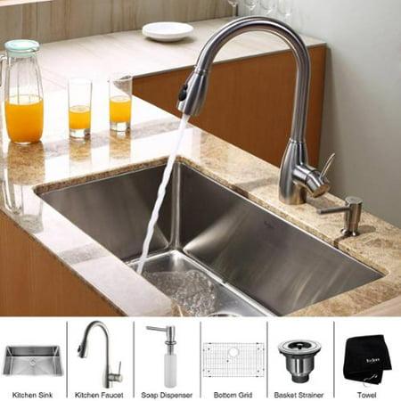 Kraus Kitchen Combo Set Stainless Steel 30 -inch Undermount Sink ...