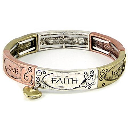 - Faith Hope Love Tri Tone Stretch Bracelet Heart Charm 1 Corinthians S...