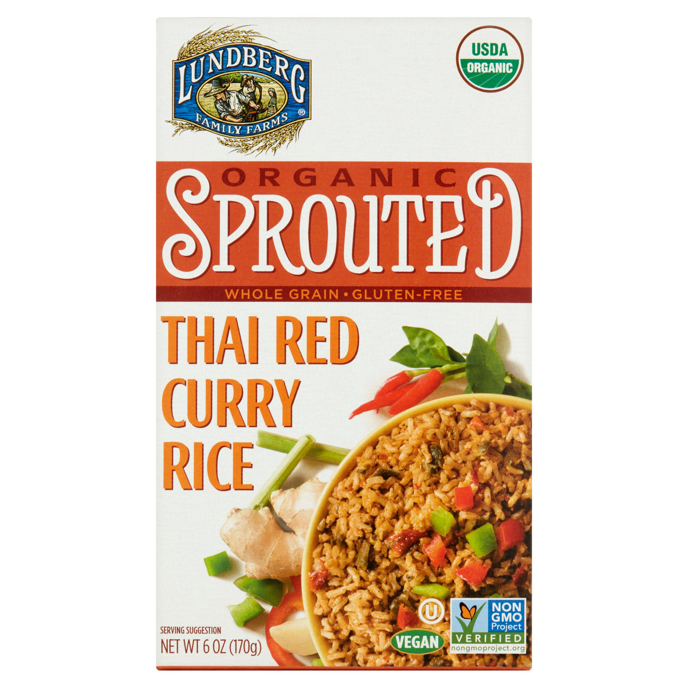 Lundberg Family Farms Organic Sprouted Thai Red Curry Rice 6 Oz 6 Pack Walmart Com Walmart Com