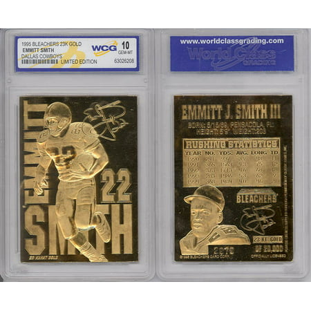 EMMITT SMITH 1995 23KT Gold Card Sculpted NFL Dallas Cowboys Graded GEM MINT 10
