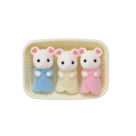 Calico Critters Marshmallow Mouse Triplets, 3 Cradled Baby Figures