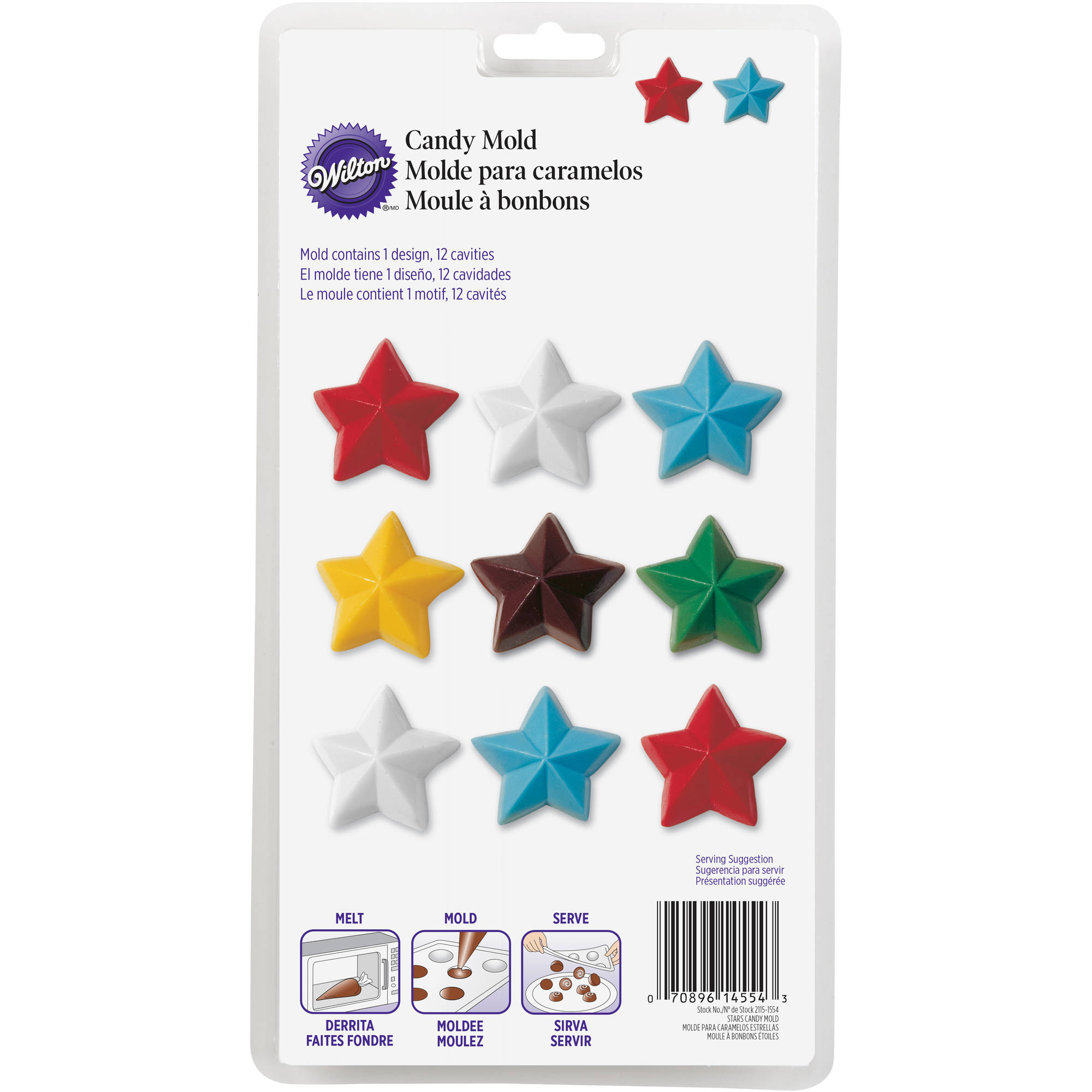 Wilton 12-Cavity Candy Mold, Star 2115-1554