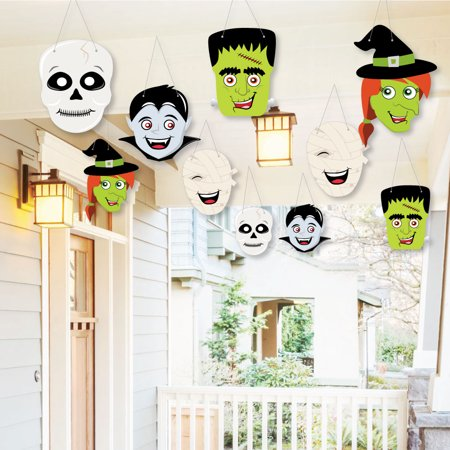 Hanging Halloween Monsters - Outdoor Halloween Party Hanging Porch & Tree Yard Decorations - 10 Pieces