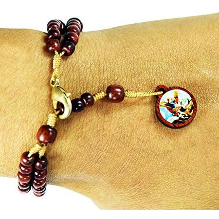 Mens Womens Saint St Michael Cherry Wood Rosary Bracelet, Made in Brazil ()