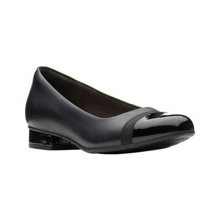 Womens Clarks Juliet Monte Square Toe Slip On Ballet Flats, Black