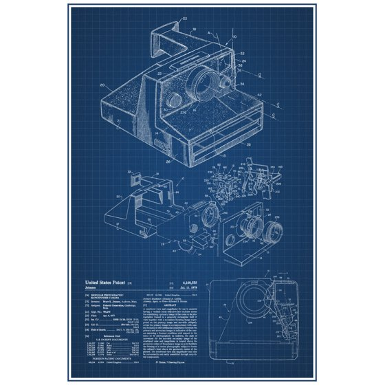 Polaroid instant camera retro official patent blueprint poster polaroid instant camera retro official patent blueprint poster 12x18 inch malvernweather