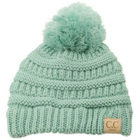 19bde0459ed SK Hat Shop - Kids CC Ages 2-7 PomPom Chunky Thick Stretchy Knit Slouch Beanie  Cap Hat - Walmart.com
