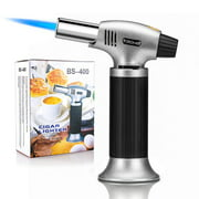 Culinary Butane Torch, Professional Cooking Torch Lighter Butane Refillable, Adjustable Flame, Safety Lock for Baking, BBQ, Creme Brulee, Heat Shrinking Tubing and Soldering (Butane Gas Not Included)