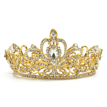 LuckyFine Crystal Rhinestone King Crown Tiara Wedding Pageant Bridal Diamante (International Silver Golden Tiara)