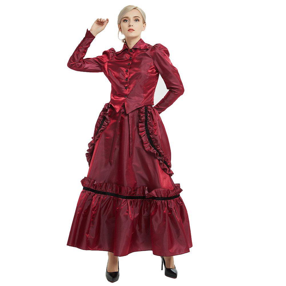 Medium Army Green GRACEART Womens Victorian Steampunk Skirt