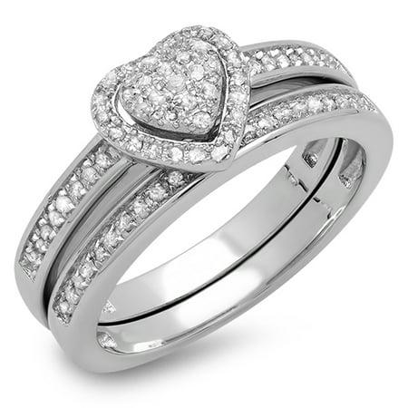 14k Celtic Engagement Ring - Dazzlingrock Collection 0.23 Carat (ctw) 14K White Diamond Ladies Engagement Ring Set 1/4 CT, White Gold, Size 8.5