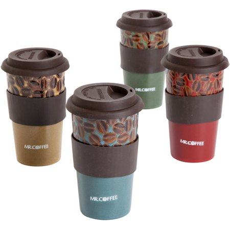Mr Coffee Cafe Plush 16 Oz Travel Mugs With Lid And Sleeve Set Of 4
