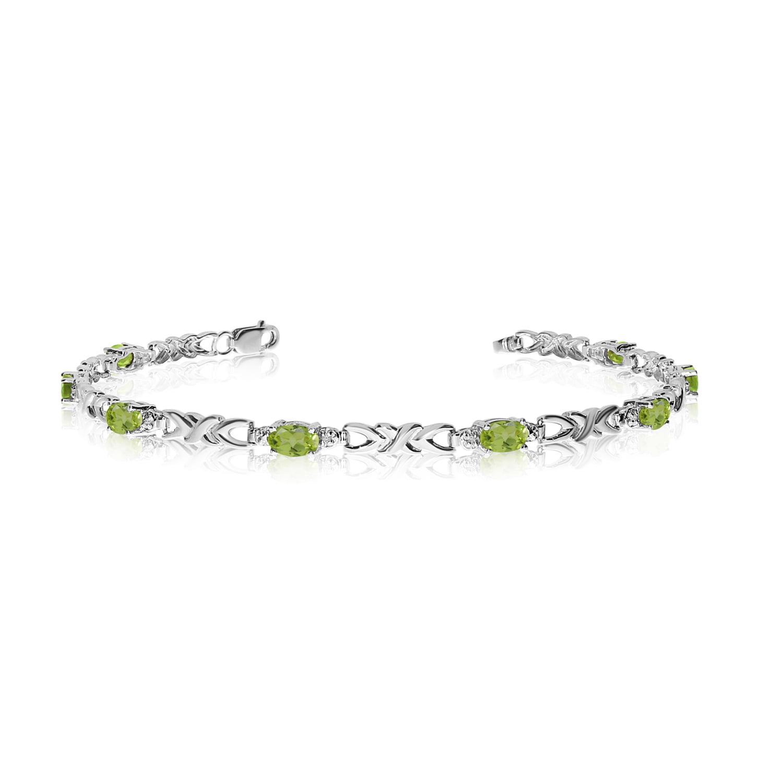 14K White Gold Oval Peridot and Diamond Bracelet by
