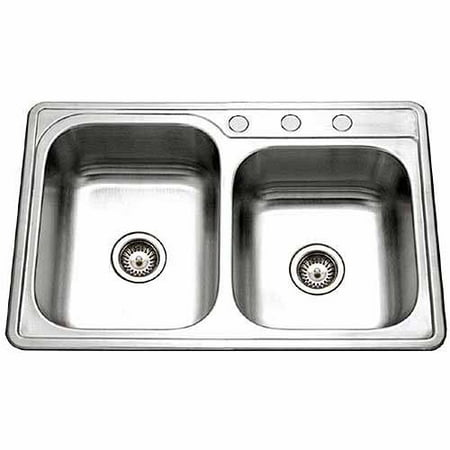 Houzer ISL-3322BS3-1 Glowtone Series Topmount Stainless Steel 3-Hole Double Bowl Kitchen Sink 3 Comp Stainless Steel Sink