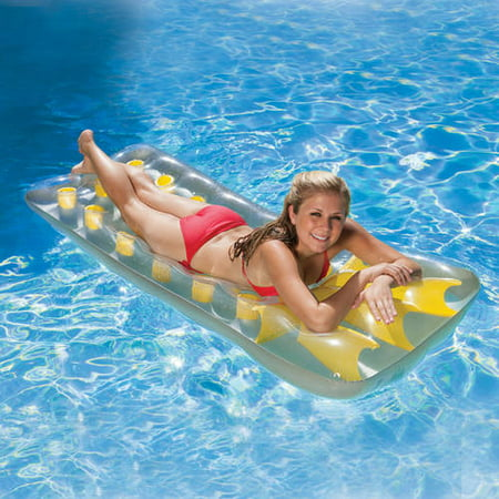 Poolmaster French Pocket Mattress For Swimming Pools Yellow