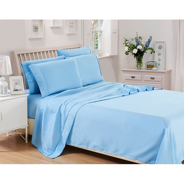 Solid Bed Sheet Set Deep Pocket 1800 Series Egyptian Quality Microfiber Bed Sheet Set 3 Pieces 1 Fitted Bed Sheet 1 Flat Sheet 1 Pillow Cover Twin Blue Lux Decor Collection Walmart Com Walmart Com