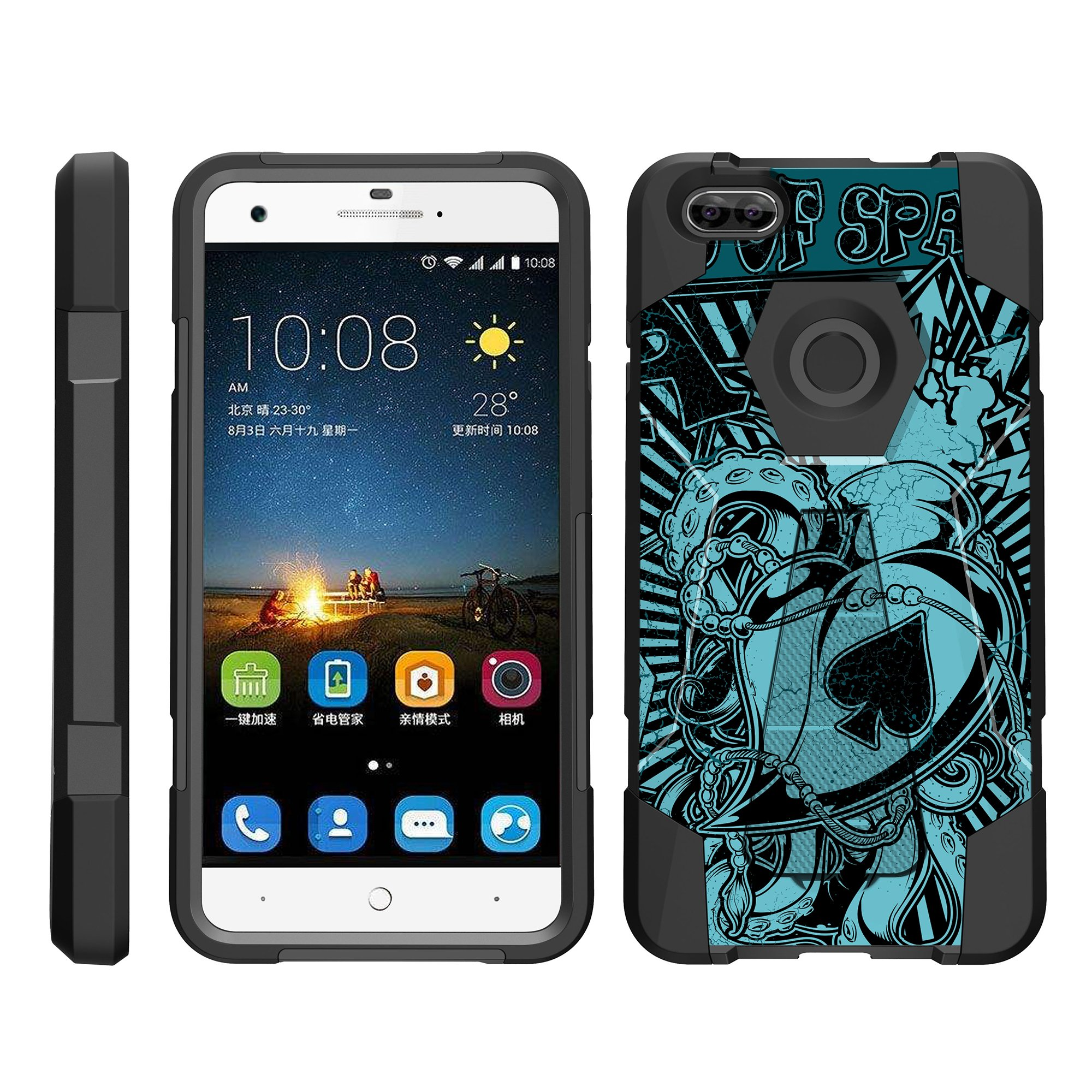 TurtleArmor ® | For ZTE Blade X Z965 [Dynamic Shell] Dual Layer Hybrid Silicone Hard Shell Kickstand Case - Ace of Spades Art