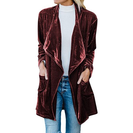 Open Trench - ZXZY Women Long Sleeve Open Front Classic Velvet Trench Coat Cardigan