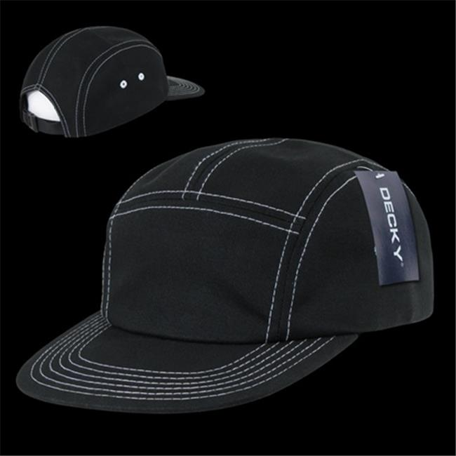 Decky 997-BLK Contra Stitch 5 Panel Racer Caps, Black - image 1 of 1