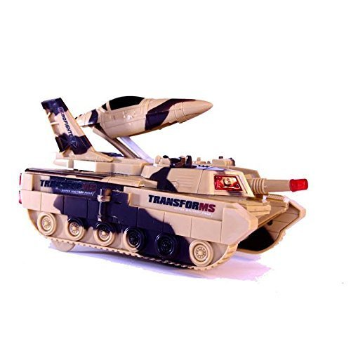 Toy Tank - Kids Combat Army Tank Toy Figurine with LED Lights and Sound Effects | Novelty Toy Military Vehicle Transformer (Tank/Jet) with Missile, Lighting and (SFX) for Children - Camouflage